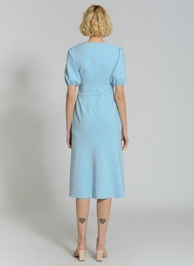 People By Fabrika Taşlı Tokalı Elbise Mavi